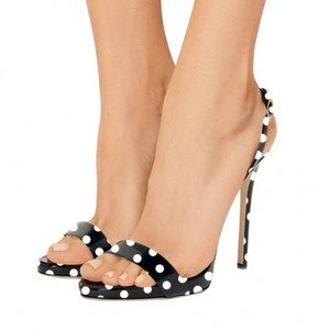 FSJ High Stiletto Heel Polka Dots Slingback Sandal